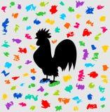 Ein Hahn des Festivals unter einer Flut Farbe Lizenzfreie Stockfotos