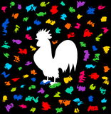 Ein Hahn des Festivals unter einer Flut Farbe Lizenzfreies Stockfoto