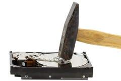 Ein Hammer auf einem externen Festplattenlaufwerk Lizenzfreie Stockfotografie