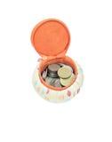 Ein handgemachter Topf für das Sammeln von Münzen Stockbild