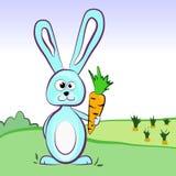 Ein Hase, der eine Karotte in einer grünen Wiese hält Lizenzfreie Stockbilder