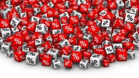 Ein Haufen des Würfelprozentsymbols Lizenzfreie Stockfotos