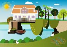 Ein Haus über dem Wasser stock abbildung