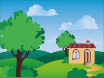 Ein Haus in der Landschaft Stockbilder