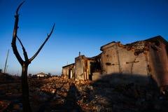 Ein Haus gebrannt Stockfotografie