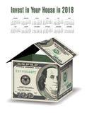 Ein Haus gemacht aus 100 Dollarscheinen heraus Lizenzfreies Stockbild