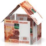 Ein Haus gemacht von den Rechnungen der russischen Rubel stock abbildung