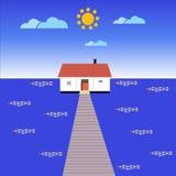Ein Haus im Meer lizenzfreie abbildung