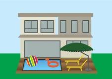 Ein Haus mit Swimmingpool lizenzfreie abbildung