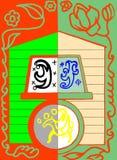 Ein Haus und ein Notizbuch auf dem Rad mit Reiter Stock Abbildung