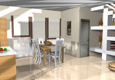 Ein Haus voll der Möbel und ein dekorativ Lizenzfreies Stockfoto
