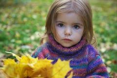 Ein Herbstportrait eines netten kleinen Mädchens Stockbild
