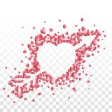 Ein Herz, das mit einem Pfeil bestand aus kleinem Rot durchbohrt wurde, schattierte Herzen auf transparentem Hintergrund stock abbildung