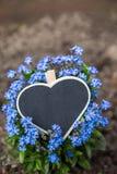 Ein Herz liegt auf blauem Vergissmeinnicht Stockbild