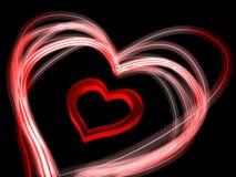 Ein Herz mit glühenden Rändern Stockfoto