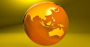 Ein Hintergrund mit dem Erdplaneten in der gelben Farbe, die Australien- und Asien-Kontinente zeigt vektor abbildung