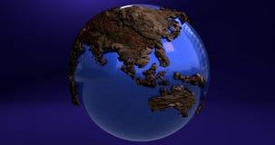 Ein Hintergrund mit dem Erdplaneten gemacht vom Holz, das Australien- und Asien-Kontinente zeigt vektor abbildung