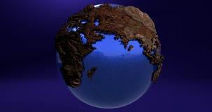 Ein Hintergrund mit dem Erdplaneten gemacht vom Holz, das die Europa- und Asien-Kontinente zeigt vektor abbildung