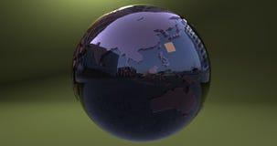 Ein Hintergrund mit dem Erdplaneten machte mit einem reflektierenden Material, das Australien- und Asien-Kontinente zeigt lizenzfreie abbildung