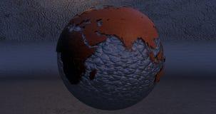 Ein Hintergrund mit dem Erdplaneten machte Führung, die die Europa- und Asien-Kontinente zeigt stock abbildung