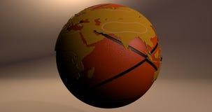 Ein Hintergrund mit der Planet Erde, die wie ein Basketball aussieht, der die Europa- und Asien-Kontinente zeigt lizenzfreie abbildung