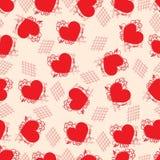 Ein Hintergrund von den roten Herzen mit Blumen stock abbildung