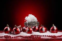 Ein Hintergrund von Weihnachten spielt Aufbau Lizenzfreies Stockbild