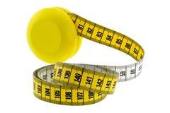 Ein hölzernes gelbes Jo-Jo mit gelbem messendem Band Stockfoto
