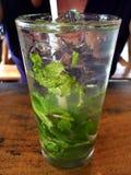 Ein hohes Glas von Mojito mit ganzen tadellosen Blättern und Lizenzfreies Stockbild