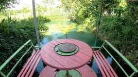 Ein Holztisch, der von den alten Kabeln gemacht wird, ist neben dem Lotosteich mit der Regenschirmverbreitung stock video