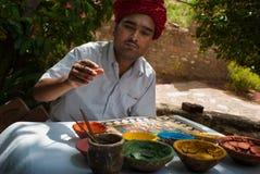 Ein indischer ländlicher Künstler Stockfotografie