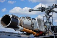 Ein Jet-Hubschrauber mit einer Ordnung auf der Maschine Stockfotografie