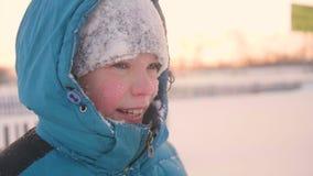 Ein Jugendlicher in lächelnder Gesichtsnahaufnahme Winter Parks Die Zeit des Sonnenuntergangs Im Freien gehen Ein gesunder Lebens Stockbild