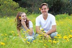 Ein jugendliches junges Paar, das auf einem Gebiet der Chrysantheme geht Lizenzfreie Stockfotografie
