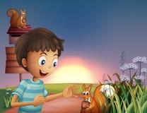 Ein Junge überrascht durch das Eichhörnchen Lizenzfreie Stockbilder