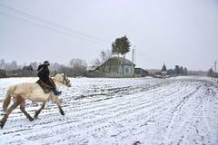 Ein Junge auf einem Pferd im Winter Lizenzfreie Stockbilder