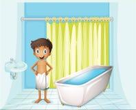 Ein Junge am Badezimmer lizenzfreie abbildung