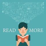 Ein Junge, der ein Buch mit Wissensfluß in seinen Kopf liest Verlängern Sie Wissen, indem Sie mehr Konzept lesen Stockbild