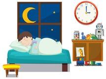 Ein Junge, der im Schlafzimmer schläft vektor abbildung
