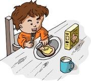 Ein Junge, der sein Frühstück nimmt vektor abbildung