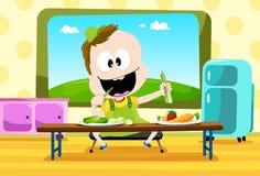 Ein Junge, der sein Gemüse isst stock abbildung