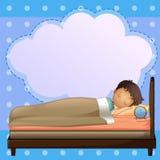 Ein Junge, der solid mit einem leeren Hinweis schläft Stockfotografie