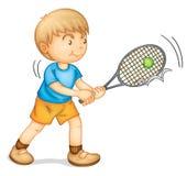 Ein Junge, der Tennis spielt Stockfotografie