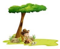 Ein Junge, der unter einem Baum stillsteht vektor abbildung
