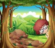 Ein Junge, der am Wald sich versteckt Stockfotografie