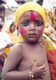 Ein Junge im Festival von Kühen-Gaijatra Stockfotografie