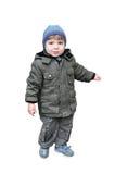 Ein Junge ist in einer Jacke stockbild