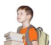 Ein Junge mit Büchern Stockfoto