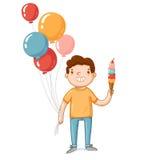 Ein Junge mit Ballonen und Eiscreme Lizenzfreie Stockfotos