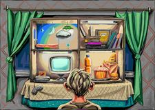 Ein Junge mit Computer, Lebensmittel und Büchern Stock Abbildung